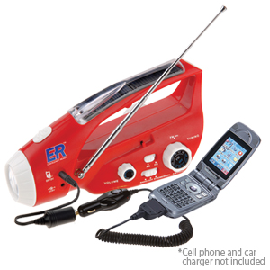 Solar / Hand-Crank Powered Flashlight & AM/FM Radio (6N)
